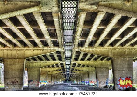 Bridge Pillars Under Highway