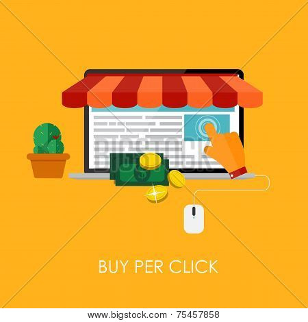 Online Shopping Bue Per Click Flat Concept for Mobile Apps