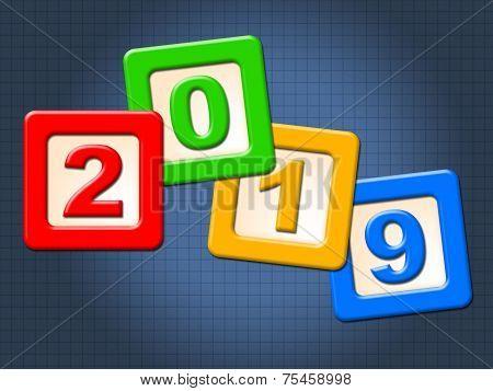 Twenty Nineteen Blocks Shows Happy New Year And Kids