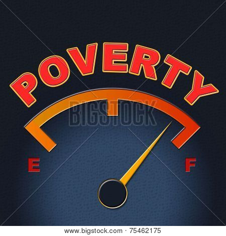 Poverty Gauge Shows Stop Hunger And Display