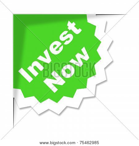 Invest Now Label Means Return On Investment And Growth