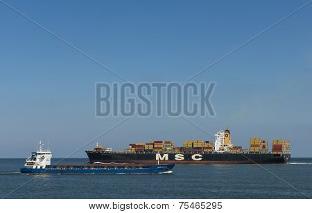Container Ship In Port Of Rotterdam