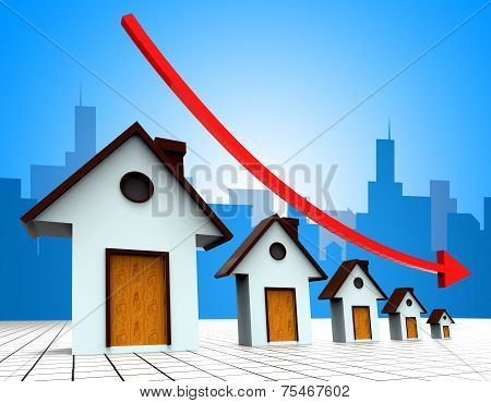 House Prices Down Represents Reduce Regresses And Household