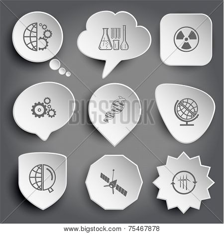 globe and gears, chemical test tubes, radiation symbol, dna, globe and magnifying glass, spaceship, wind turbine. White vector buttons on gray.