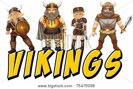 Four vikings with text on white