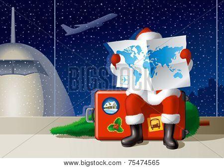Santa's Christmas travel. Vector
