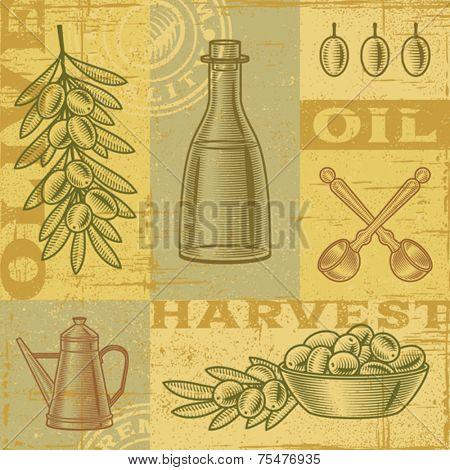 Vintage olive harvest background. Vector
