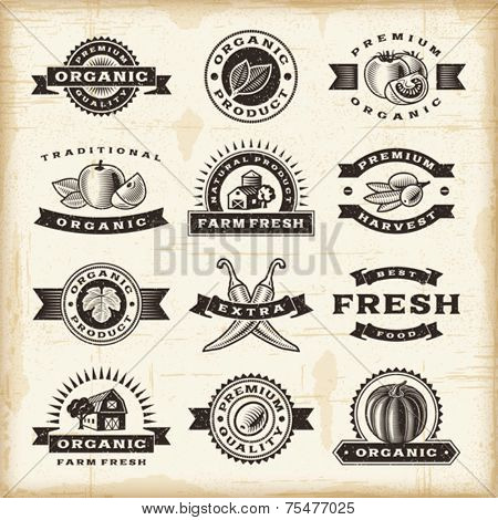 Vintage organic harvest stamps set. Fully editable EPS10 vector.