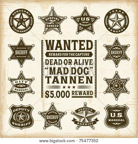 Vintage sheriff, marshal and ranger badges set. Fully editable EPS10 vector.