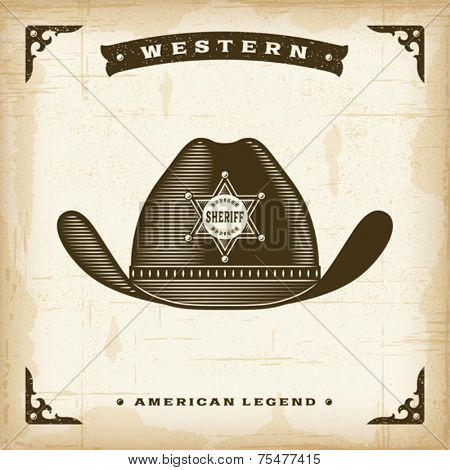 Vintage Western Sheriff Hat. Editable EPS10 vector illustration.