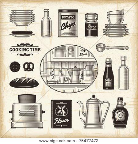 Vintage kitchen set. Fully editable EPS10 vector.