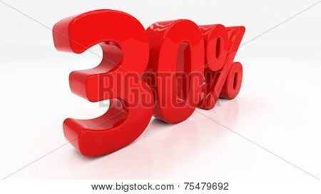 Thirty percent off. Discount 30.  Percentage. 3D illustration poster