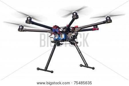 Dlying drone isolated on white