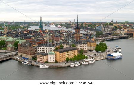 aerial view of stockholm city from top of the city hall poster