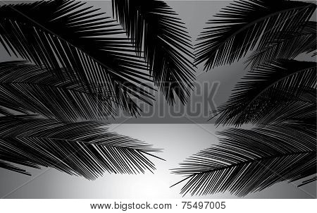 Beach Sunset With Palms Vector Illustration