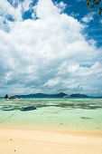 tropical beach with turquoise water poster