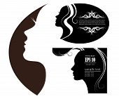 SET female silhouette. vector images and emblems or spa and beauty salons poster