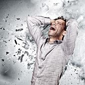 stressed man and background explosion poster