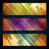 Set of light straight lines abstract background with abstract glass heart, shiny circles and lines. poster