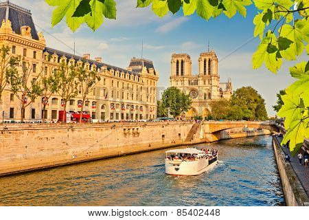 Siene river and Notre Dame de Paris in Paris, France