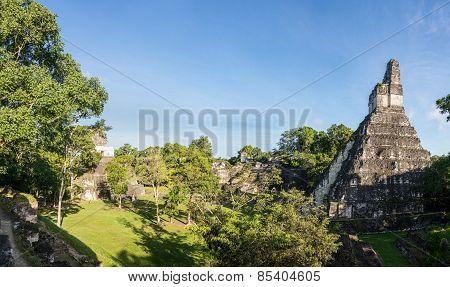 Panorama Of Mayan Ruins At Tikal, National Park. Traveling Guatemala, Central America.