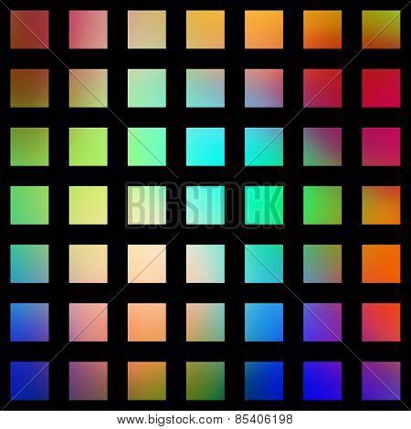 Multicolored graduated square blocks on a black background.