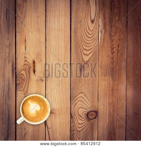 Top View Latte Coffee On Wood Table With Space