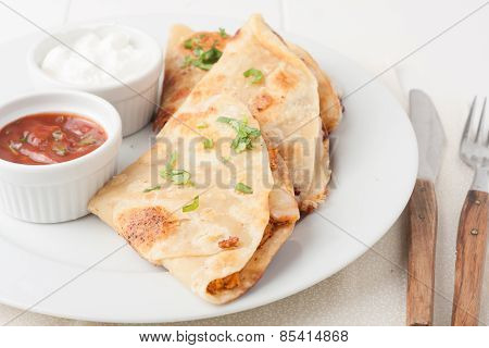 Original Mexican Quesadilla On White Plate