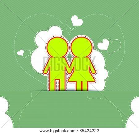 Couple Love On Retro Background