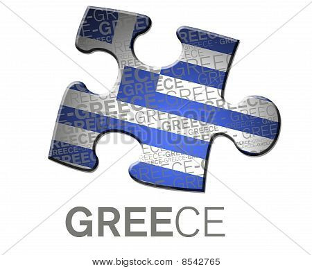 Flag of greece in puzzle