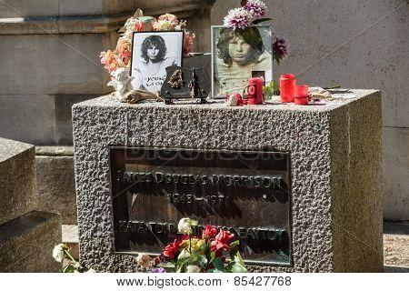 Jim Morrison grave in Pere-Lachaise cemetery