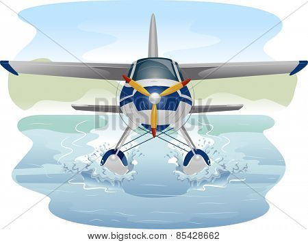 Illustration of a Seaplane Cruising Through Water  poster