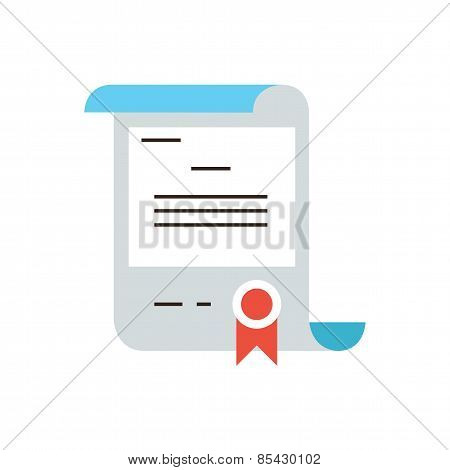 Gift Certificate Flat Line Icon Concept