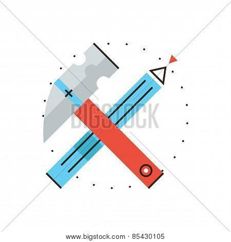 Construction Tools Flat Line Icon Concept