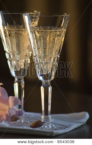 Two Waterford Champagne Glasses