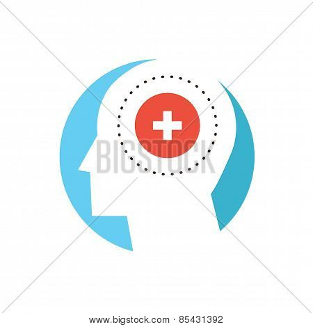 Mental Health Flat Line Icon Concept