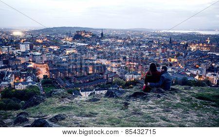 Couple on hill in Edinburgh