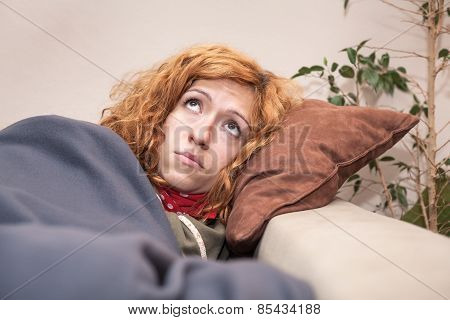 Sad Lonely Woman Looking Up