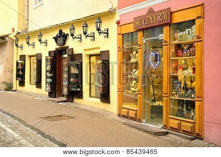 Vilnius Old City Center Souvenirs Shop Winter View