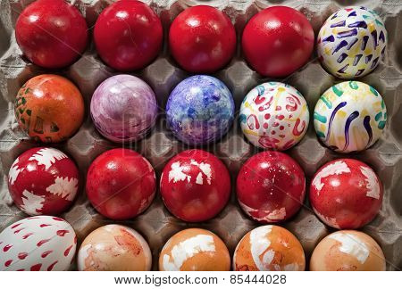 Colored Easter Eggs And Hand-painted