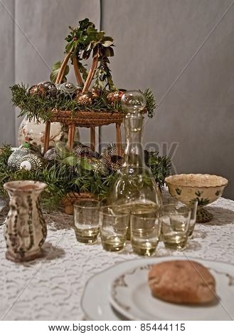 Easter table in vintage environment