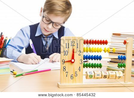 School Child Pupil Education, Clock Abacus, Students Boy In Glasses Counting Math Lesson, Kid