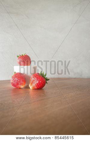 Fresh Ripe Strawberries On Wooden Background