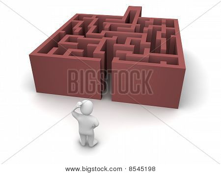 Man ahead of maze without exit