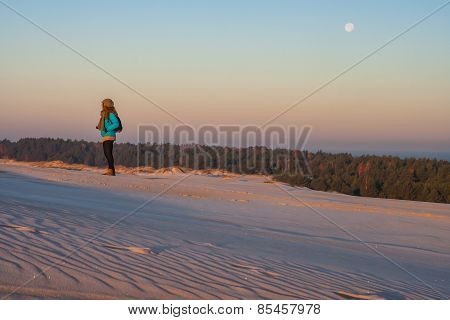 Walking On The Sand Dune