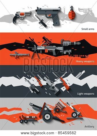 Weapon horizontal banners set with small arms heavy light artillery elements isolated vector illustration poster