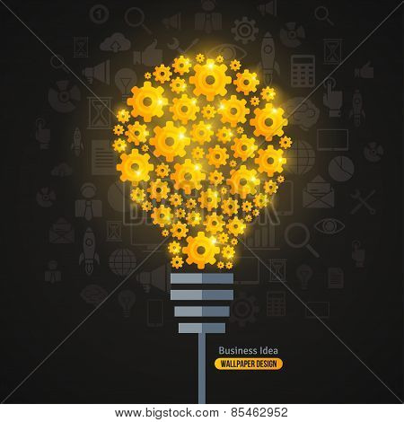 Light Bulb with Gears Pattern and Business Icons Background