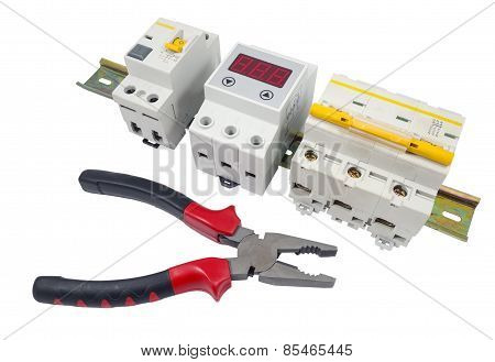 Automatic circuit breaker and tools isolated on a white background poster