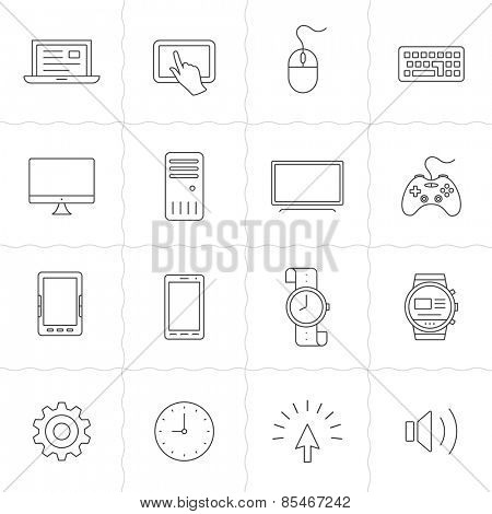 Gadgets linear icon set. Electronic gadgets and computer devices. Simple outlined icons. Linear style