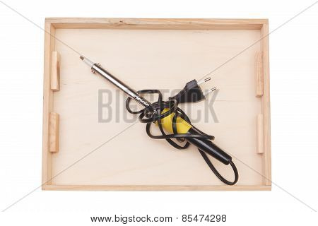 Soldering Iron In A Wooden Box